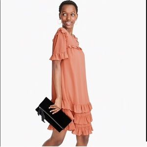 PEACH colour Crew Ruffle Dress in Crinkle Chiffon